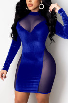 Blue Celebrities Solid Hollowed Out Split Joint O Neck Pencil Skirt Dresses