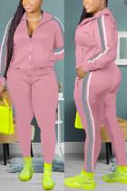 Pink Fashion Casual Zipper Collar Long Sleeve Regular Sleeve Patchwork Plus Size Set