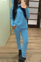 Light Blue Street Solid Split Joint Hooded Collar Long Sleeve Two Pieces