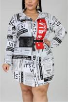 White Fashion Casual Newspaper Print Long Sleeve Shirt Dress