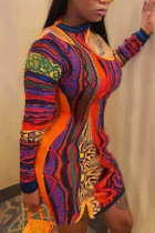 Multicolor Sexy Print Split Joint O Neck Wrapped Skirt Plus Size