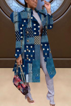 Blue Casual Print With Belt Turndown Collar Outerwear