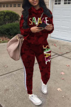 Wine Red Fashion Casual Letter Print Camouflage Print Letter Turtleneck Plus Size Set