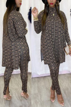 Gold Sweet Print Split Joint Turtleneck Long Sleeve Two Pieces