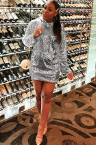 Silver Polyester Sexy Cap Sleeve Long Sleeves O neck Step Skirt Knee-Length Solid Sequin  Club Dresses
