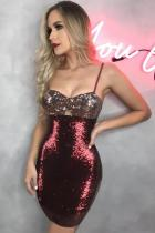 Red Polyester adult Fashion Sexy Spaghetti Strap Sleeveless Slip Step Skirt skirt Sequin Solid  Club Dre