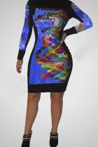 Blue Fashion Trendy Beaded Sequin Dress
