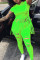 Fluorescent green Fashion Street Print Short Sleeve Two Pieces
