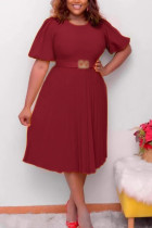 Wine Red Fashion Casual Plus Size Solid With Belt O Neck Pleated Dress