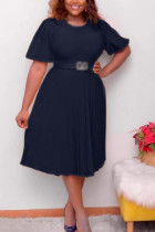Tibetan Blue Fashion Casual Plus Size Solid With Belt O Neck Pleated Dress