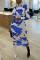 Blue Casual Print Turtleneck Wrapped Skirt Dresses