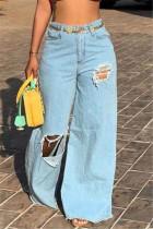 Light Blue Fashion Broken Hole Loose Denim Trousers