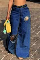 Dark Blue Fashion Broken Hole Loose Denim Trousers