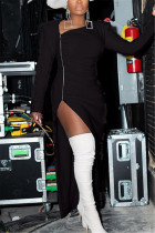 Black Fashion Sexy Solid Color Irregular Long Sleeve Dress