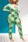 Green Sweet Print V Neck Regular Jumpsuits