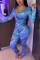 Blue Sweet Print V Neck Regular Jumpsuits
