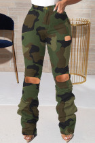 Army Green Street Camouflage Print Ripped Plus Size