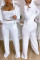 White Fashion Casual Solid Basic Hooded Collar Long Sleeve Three-piece Set