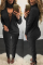 Black Sexy Casual Patchwork Hollowed Out V Neck Long Sleeve Two Pieces