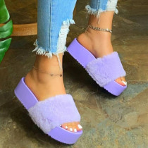 Purple Fashion Solid Color Out Door Plush Slippers