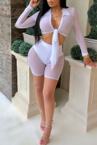 White Sexy V Neck See-through Gauze Two-piece Shorts Set(With Briefs)