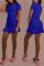 Blue Fashion Casual Solid Fold O Neck Short Sleeve Dress