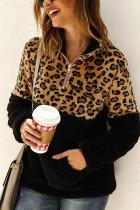 Black Fashion Patchwork Long Sleeve Leopard Print Top