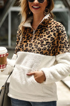 White Fashion Patchwork Long Sleeve Leopard Print Top