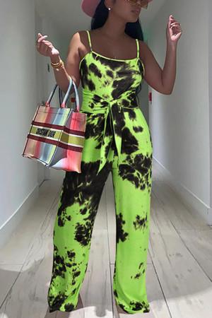 Green Fashion Casual Print Tie-dye Spaghetti Strap Regular Jumpsuits