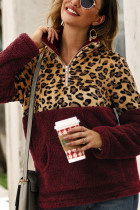 Wine Red Fashion Patchwork Long Sleeve Leopard Print Top
