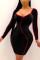 Black Sexy Patchwork O Neck Wrapped Skirt Dresses