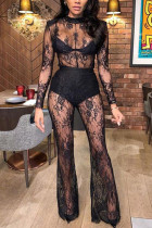 Black Fashion Sexy Solid See-through O Neck Regular Lace Jumpsuits