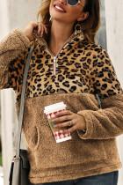 Khaki Fashion Patchwork Long Sleeve Leopard Print Top
