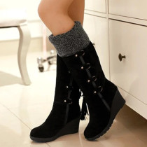 Black Fashion Casual Split Joint Strap Design Keep Warm Boots