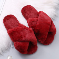 Wine Red Casual Living Solid Color Keep Warm Plush Slippers