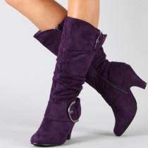 Purple Fashion Casual Solid Color Boots