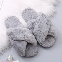 Grey Casual Living Solid Color Keep Warm Plush Slippers
