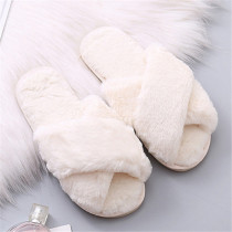 Cream White Casual Living Solid Color Keep Warm Plush Slippers