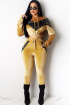 Yellow Polyester Casual Solid Sequin Patchwork Two Piece Suits pencil Long Sleeve  Two-piece Pants Set