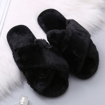 Black Casual Living Solid Color Keep Warm Plush Slippers