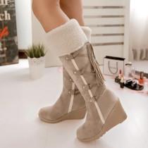 Beige Fashion Casual Split Joint Strap Design Keep Warm Boots