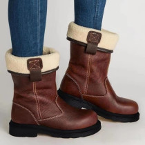 Brown Fashion Casual Solid Color Keep Warm Snow Boots