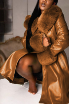 Brown Sexy Solid Split Joint Turndown Collar Outerwear
