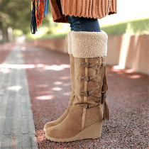 Yellow Fashion Casual Split Joint Strap Design Keep Warm Boots