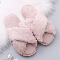 Pink Casual Living Solid Color Keep Warm Plush Slippers