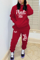 Red Casual Letter Print Hooded Collar Long Sleeve Two Pieces