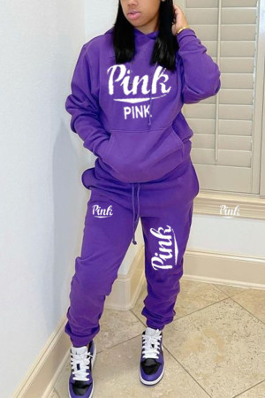 Purple Casual Letter Print Hooded Collar Long Sleeve Two Pieces