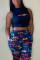 Blue Fashion Casual Print Basic Regular Mid Waist Trousers