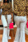 Brown Polyester V Neck Half Sleeve Leopard Bandage Print  Long Sleeve Tops