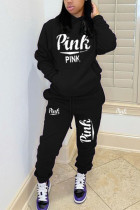 Black Casual Letter Print Hooded Collar Long Sleeve Two Pieces